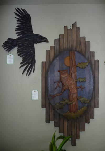 Stanley Rills Barnwood Owl and Split Rail Raven